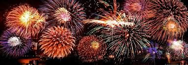 """Fireworks; Dictionary.com definition is """"a combustible or explosive device for producing a striking display of light or a loud noise, used for signaling or as part of a celebration."""" Text example: """"How often had he seen Pegasus flying in the sky ceiling, or seen fountains of red fireworks, or heard angel voices singing.""""(Paragraph 29) My sentence is: On 4th of July we do fireworks."""