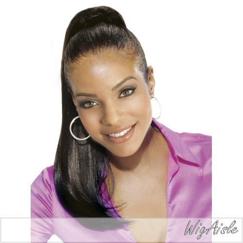 """PB65-V (Vivica A. Fox) - Synthetic Ponytail in DARKEST BROWN by Vivica A. Fox. $18.95. Ponytail - Synthetic. Long length. Straight style. Average cap size. Color 2 is DARKEST BROWN. Color shown is 2. Styling required to achieve the exact look shown. The color you receive may vary from the swatch shown due to your monitor and the distribution of the color fibers dictated by the style.. Color 2 is DARKEST BROWN (Color shown is 2) - 20"""" SILKY STRAIGHT CURL POCKET BUN"""