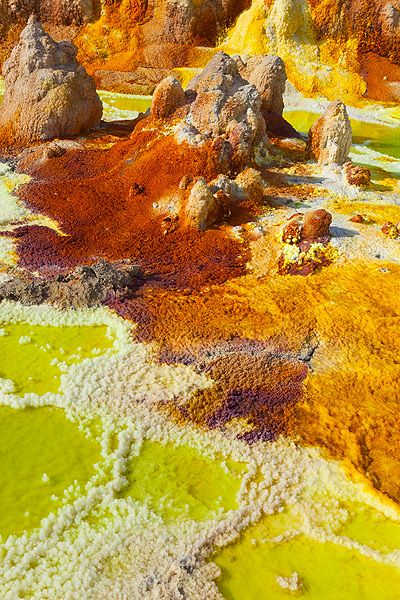 Dallol volcano, Ethiopia. Unique in that lava does not flow from it.