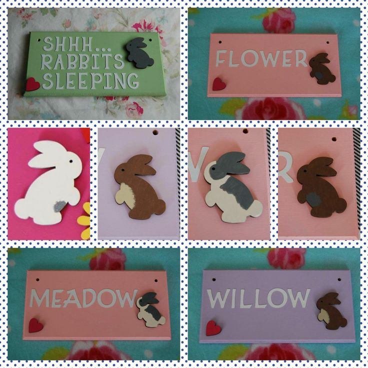 Rabbit sign Bunny sign Personalised Plaque Sign. Any Name/ wording, Any colour Hutch Cage Indoor Sign Pet Sign Bunnies Bunny Rabbits baby by FairylandDecor on Etsy