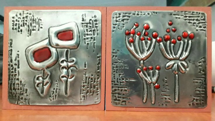 Pewter art done in class at a craft convention