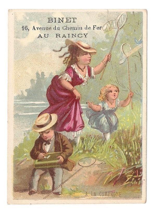 La Chasse au Papillons - - Enfants  - Chromo A la Ville de Lyon - Trade Card