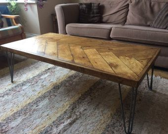 Barn wood coffee table – Herringbone table – Hairpin legs – Chevron design accents – Reclaimed wood furniture – Rustic barnwood living room by GrindstoneDesign