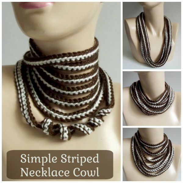 Simple Striped Necklace Cowl ~ FREE Crochet Pattern on CrochetNCrafts