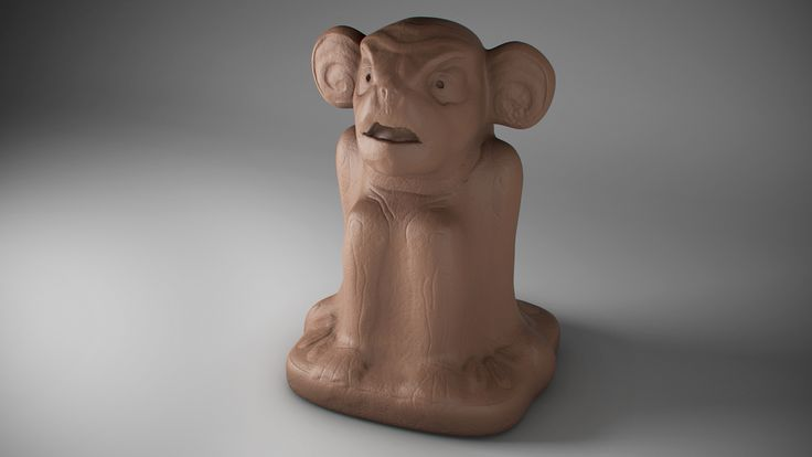 Clay monkey sculpt, something you would find in a tomb raider game