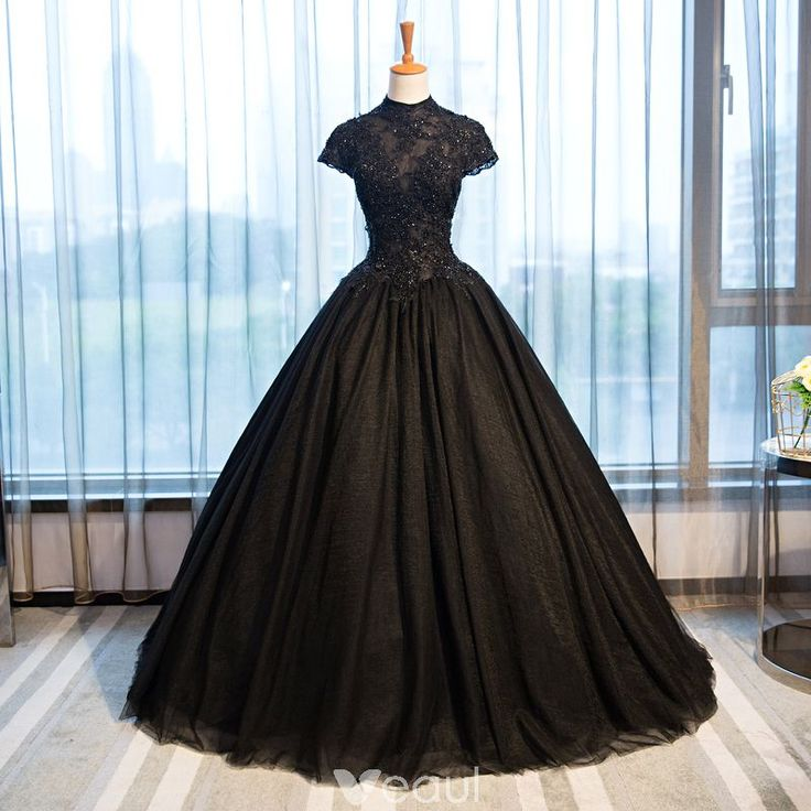 Chic / Beautiful Black Evening Dresses 2017 Ball Gown Lace Flower Crystal Beading High Neck Backless Short Sleeve Floor-Length / Long Formal Dresses