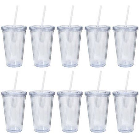 HomeLife Clear Acrylic Tumblers with Lid and Straw, BPA Free, 16 oz, 10-Pack