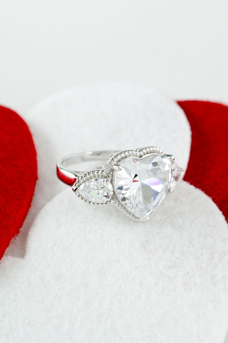Bella Luce 1505ctw Heart Shape & Pear Shape Rhodium Plated Sterling Silver  Ring