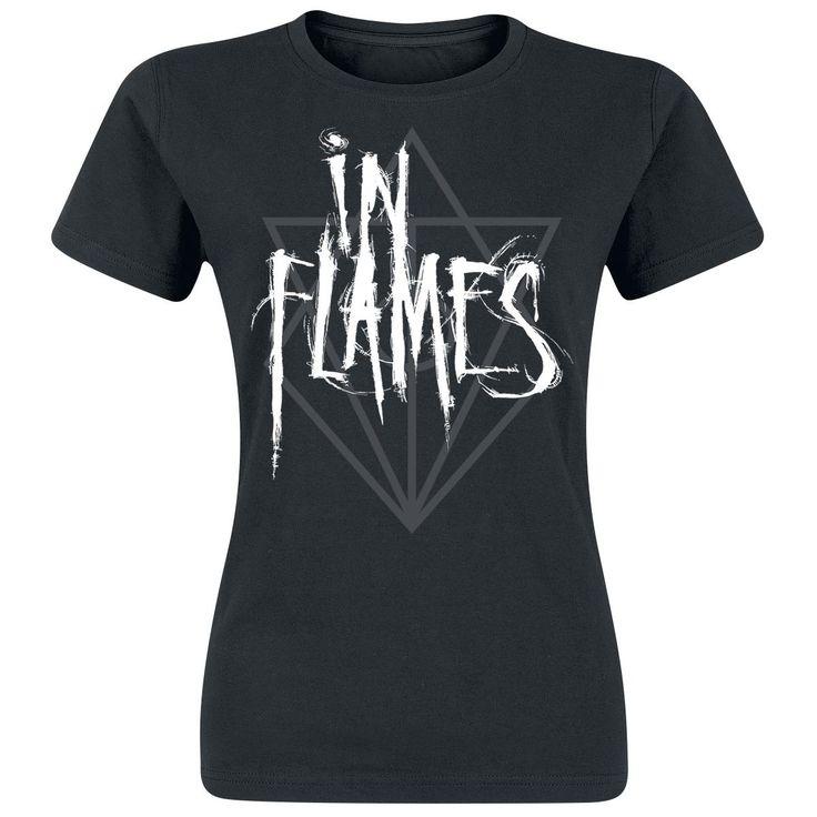 """T-Shirt donna nera """"Logo"""" degli #InFlames con nome della band stampato in bianco sulla parte frontale."""