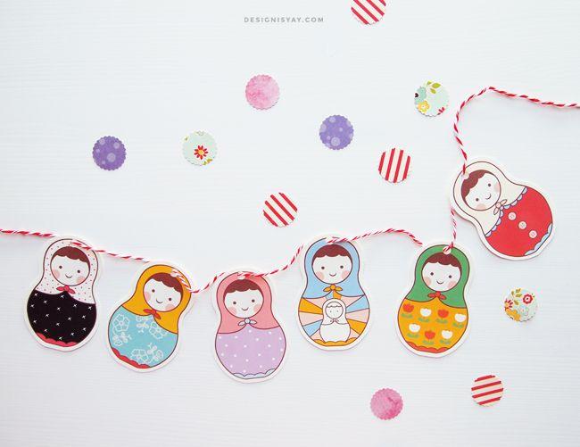 FREE printable Matryoshka Garland   DESIGN IS YAY!