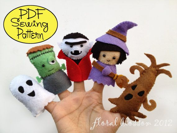 Digital Pattern: Halloween Friends 02 Felt Finger por FloralBlossom