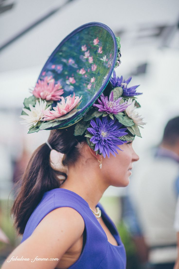 Gorgeous water lillies inspired fascinator at the Melbourne Cup Carnival, 2013