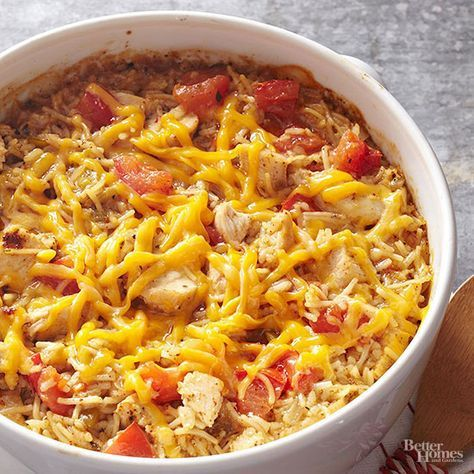 Use chicken-flavor rice and vermicelli mix to boost the savory flavor in this tasty casserole recipe. Tender bites of chicken are stirred into the well-seasoned mixture and sprinkled with cheddar cheese for a melty finish./