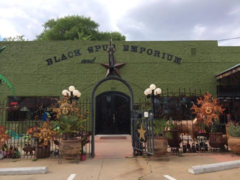 Black Spur Emporium:    Western and Eclectic Gifts and Decor. Metal Art, Crosses, Talavera Pottery, Bronze Knobs and Handles, Cowboy Accessories, Chandeliers, Sheepskin Lampshades, Candles, Glassware, Prints, Live Plants, Hides and Horns, Jewelry, and Mexican Imports. 100 West Main, Johnson City, TX