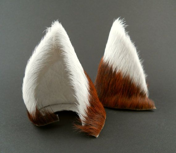 White and Brown Brindle Fur Leather Wolf Dog Fox Kistune Ears Inumimi Cosplay Furry Goth Fantasy