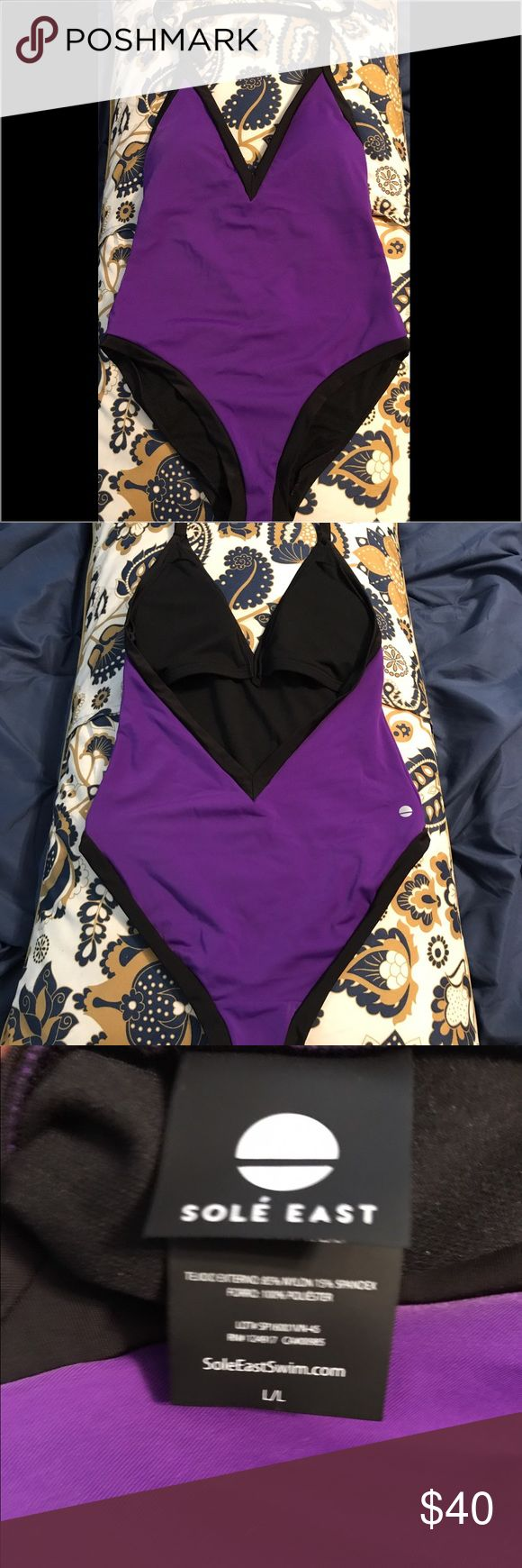 Purple one-piece swimsuit Super cute Sole East one-piece. Just selling because I have too many suits. Worn once and is in EUC. sole east Swim One Pieces