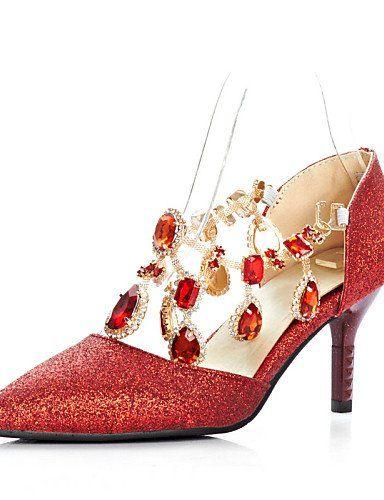 X&D Damenschuhe - High Heels - Lässig - Kunstleder - Stöckelabsatz - Absätze / Spitzschuh - Blau / Rot - http://on-line-kaufen.de/tba/x-d-damenschuhe-high-heels-laessig-kunstleder-rot