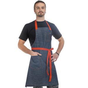 FD B16R - Фартук повара Джинсовый синий с красной завязкой 1390 руб