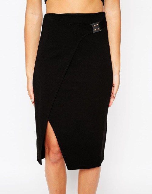 Pencil μαύρη φούστα με κλείσιμο αγκράφας