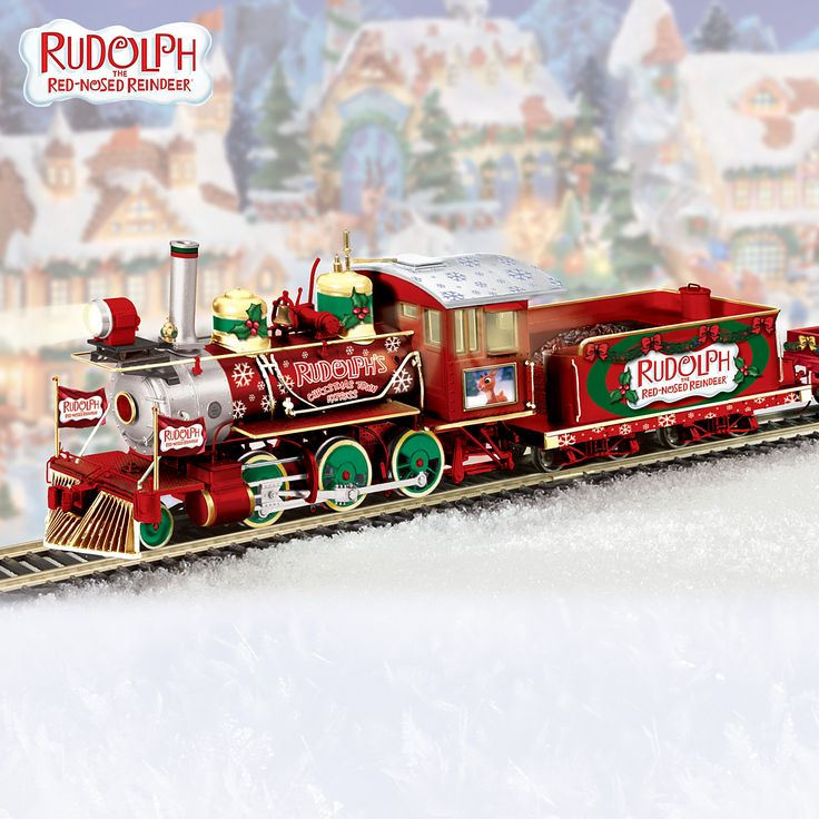 """Would make a cute addition at the train yard. """"Rudolph the Red Nosed Reindeer"""" was a favorite. He was """"Randolph Reindeer"""" to me, as a girl. Hawthorne Village Rudolph's Christmas Town Express Electric Train Collection by the Bradford Exchange"""