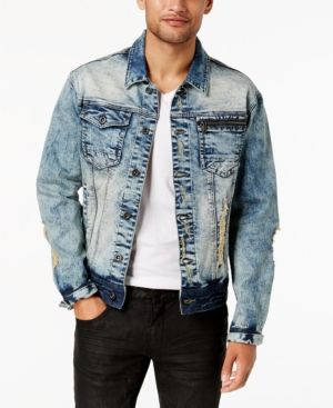 Sean John Men's Legacy Stretch Denim Trucker Jacket - Silver 4XL