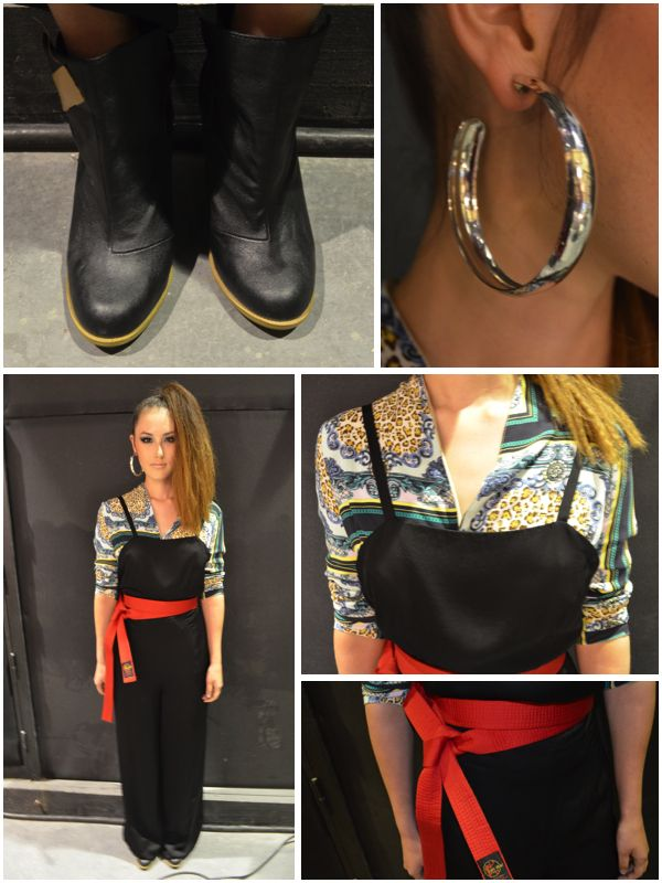 Yumika's Outfit - Top from One Teaspoon, Jumpsuit from TwentyTwelve, Boots from H&M, Red Belt & Earrings from Stylist