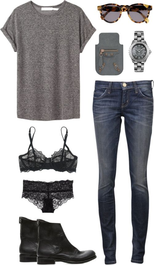 ifashioncopenhagen: relax weekend by toutestparfait featuring elle macpherson intimates Etoile Isabel Marant slouchy top / Current/Elliott straight leg jeans / Elle Macpherson Intimates / H&M lingerie panty, $9.09 / The Last conspiracy leather shoes, $415 / Balenciaga / Illesteva Leonard Round-Frame Sunglasses