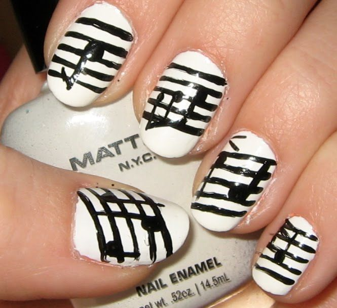 51 best nail art 3 images on pinterest beauty nail art white nails with a design of music notes prinsesfo Choice Image