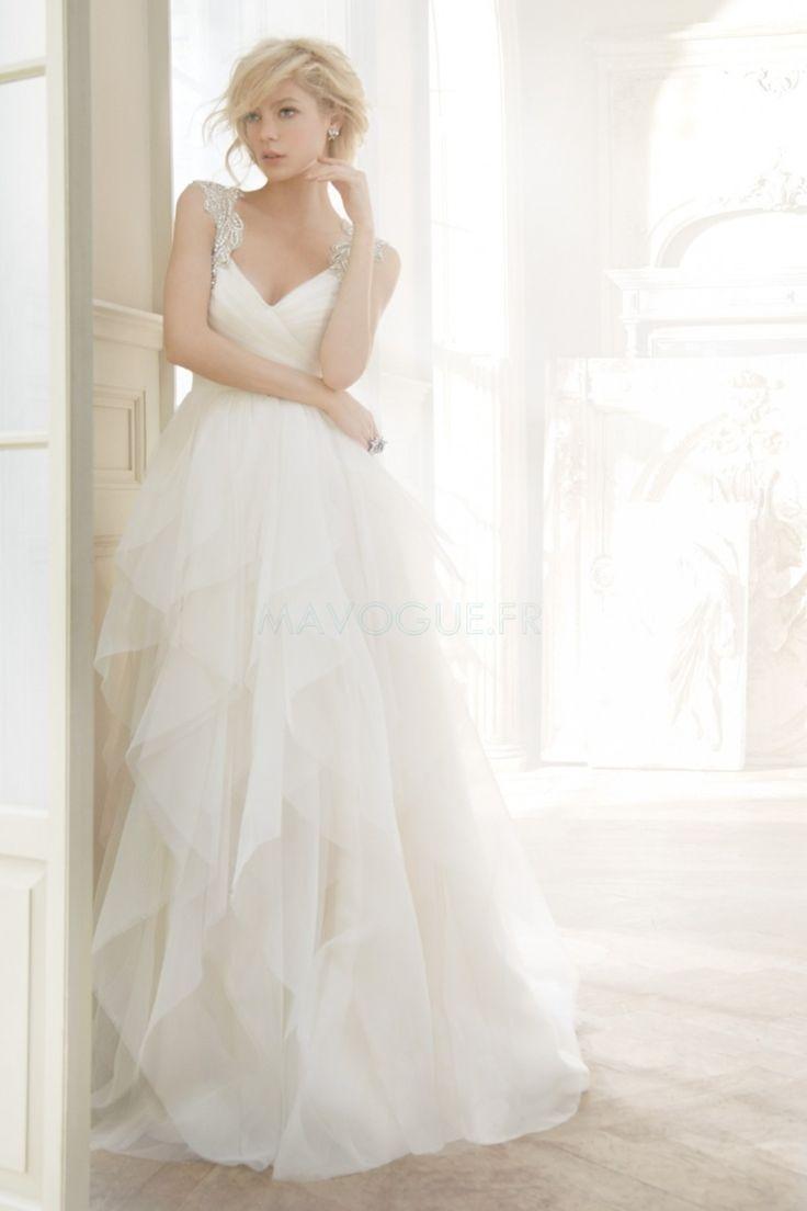 Robe De Mariée Sans Manches Avec Perle Tulle Satin Empire Col En V