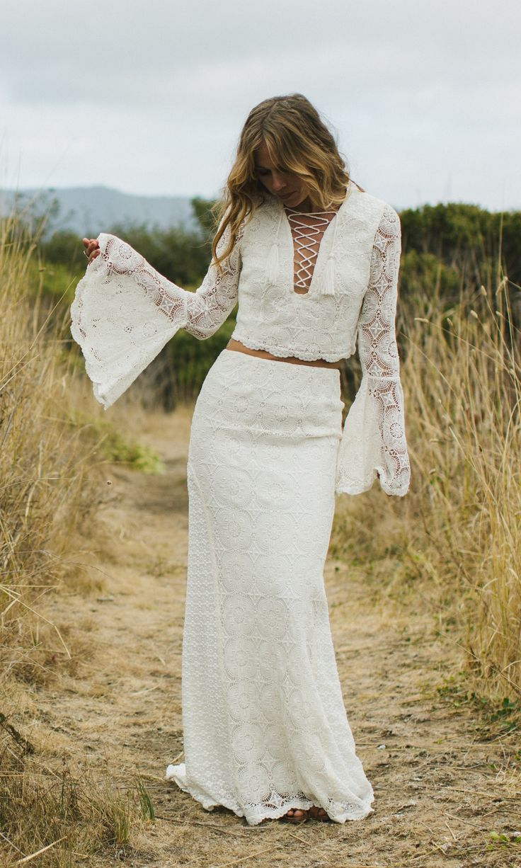 """Crochet two piece wedding dress, the """"Fleetwood"""" is beautifully-crafted gown with a blend of three different cotton crochet laces. The top is enhanced"""