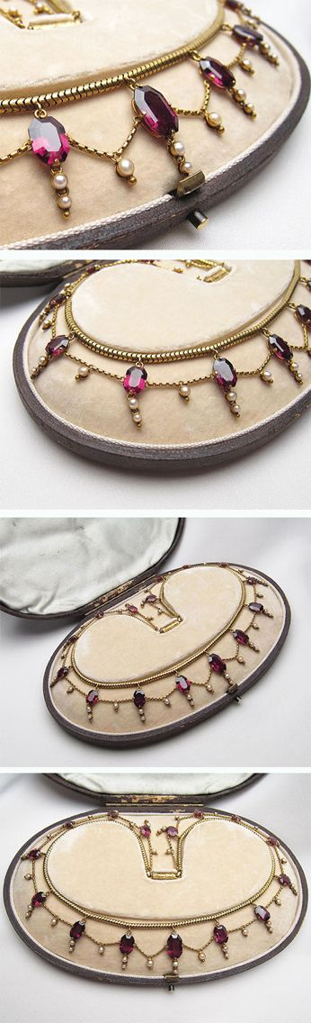 Stunning Victorian garnet & seed pearl gold necklace. An exquisite heirloom piece for the antique jewelry collector.