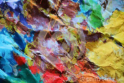 Playful strong colors on a painted abstract surface with hard strokes of brush, background.