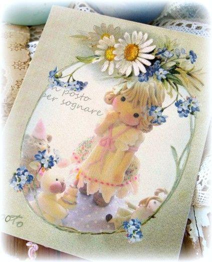 easter,postcard,doll porcelana fria, bambolina porcellana fredda,Pasqua.
