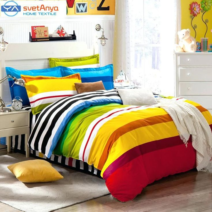 Rainbow Color Stripes Boys Bedding Set For Single Double Bedflat Bedsheet Double Bed Duvet Cover Size South Africa Double Bed Quilt Covers Cheap Double Bed Quilt Cover Size #DoubleBedSheets