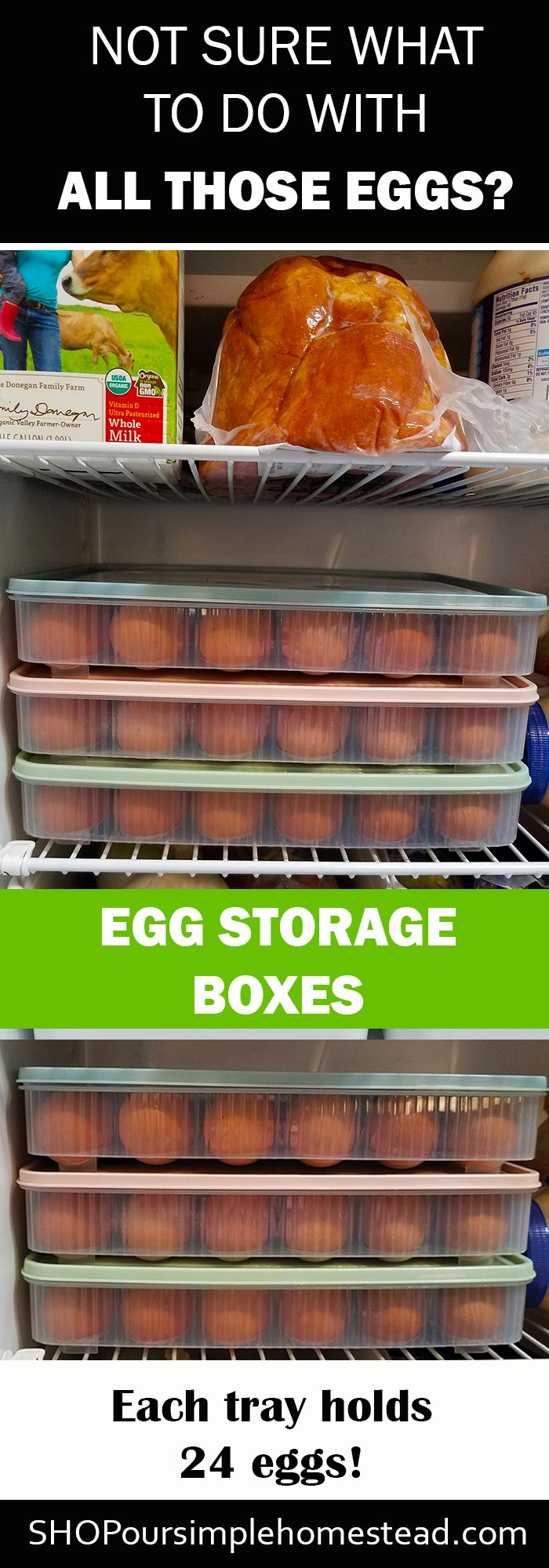Egg Storage Boxes - No more eggs spilling out everywhere! These handy egg storage boxes hold 24 eggs each and keep all your prized eggs neatly tucked in your fridge or on your counter.  Don't wait until you have more eggs then you know what to do with.  Grab a few boxes before your hens start laying.