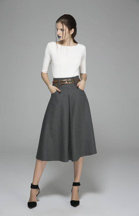 gray skirt wool skirt midi skirt winter skirt skirt with