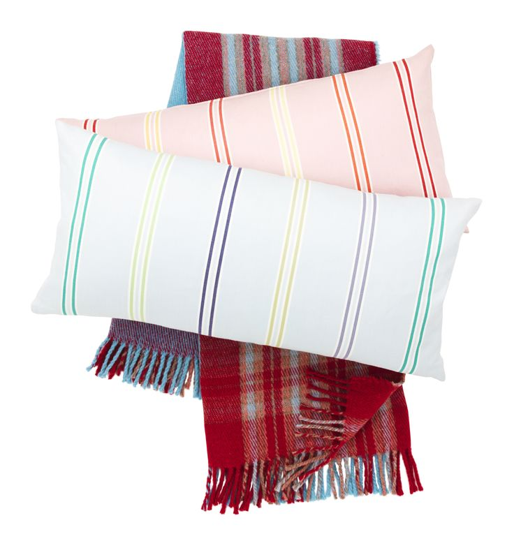 Pink and blue stripe cushions, £12.99 each.