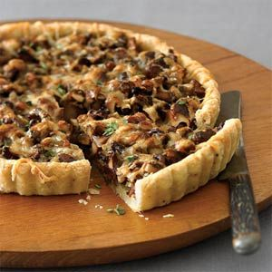 Ok, so the huge amount of butter, cheese and cream etc might not qualify this as 'healthy' but it's vegetarian, and that's a start.  Leek and Chanterelle Tart | MyRecipes.com