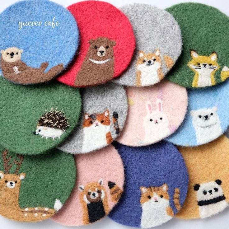 Cute Needle felted project wool animals coaster (Via @yucococafe)  These are the cutest ever!