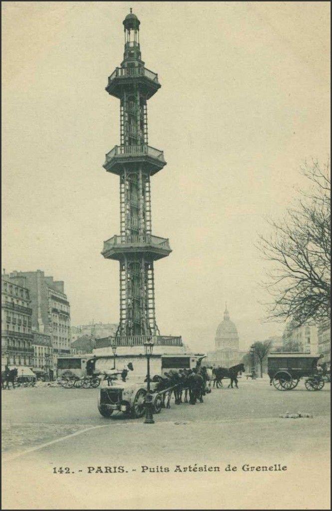 Le puits artésien de Grenelle. Tour construite en 1841, démolie en 1903, elle se trouvait au centre de la place de Breteuil à Paris