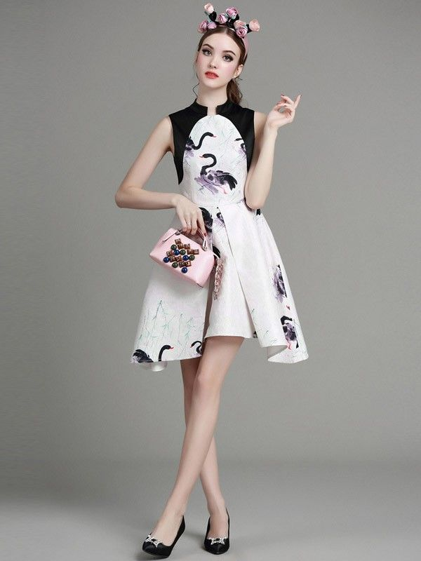 Printed Qipao / Cheongsam Dress with Curved Hem