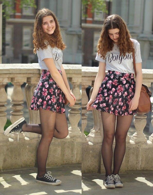 Janine De Bart - Forever 21 Bonjour T Shirt, H&M Floral Skater Skirt, New Yorker Brown Bag, Converse Black Allstars - London Calling