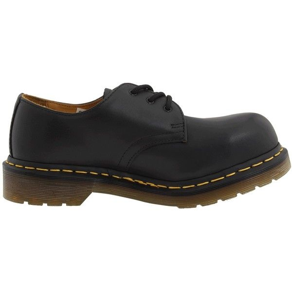 Dr. Martens 1925 (Black Fine Haircell) Lace up casual Shoes ($110) ❤ liked on Polyvore featuring shoes, safety toe shoes, black lace up shoes, black leather shoes, leather platform shoes and platform lace up shoes