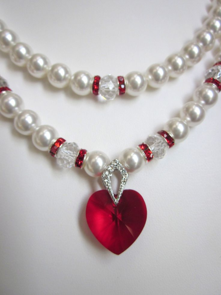2-Strand Pearl Necklace - Swarovski White Pearls and Siam Red Crystal Heart Necklace - Perfect for Wedding, Prom or Formal, Brides,.