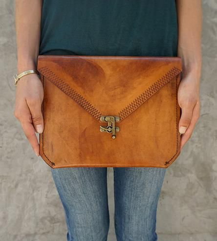 This is glorious. :: Large Leather Envelope Clutch