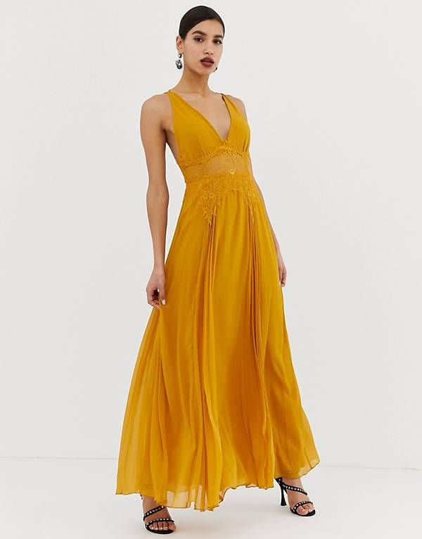 Asos Design Cami Maxi Dress In Crinkle Chiffon With Lace Waist And Strappy Back Detail Mustard Yellow Maxi Dress Prom Cami Maxi Dress Embellished Maxi Dress
