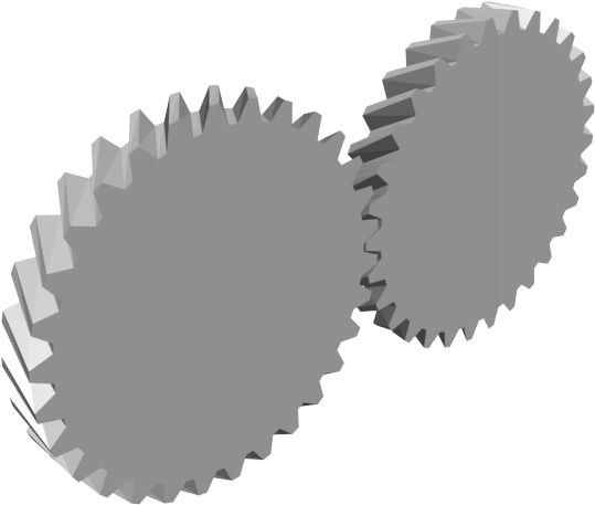 Animación de engranajes helicoidales.
