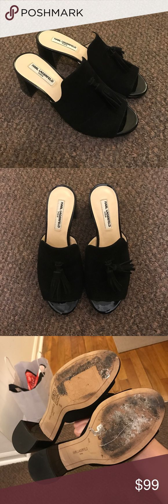 """Karl Lagerfeld Mules Size: 5.5; suede leather with tassel embellishment; block heel; about 2"""" height; worn twice! Karl Lagerfeld Shoes Mules & Clogs"""