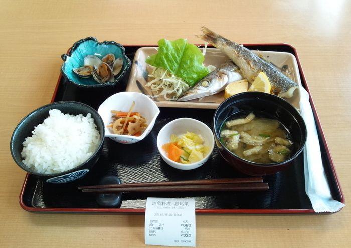 この焼き魚定食の場合、主菜である焼き魚は、一汁のお味噌汁の上、副菜のあさりは主食のごはんの上に、そして副副菜の小鉢などは、ご飯とお味噌汁、主食と一汁の間に置くように並べます。