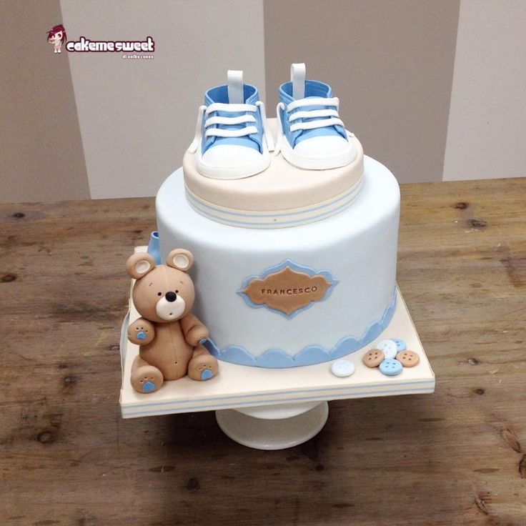Baby shoes christening - Cake by Naike Lanza